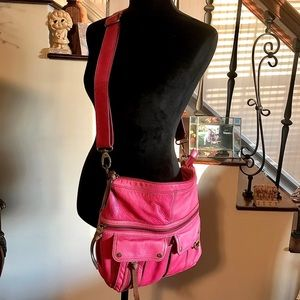 Distressed Pink FOSSIL Large Crossbody